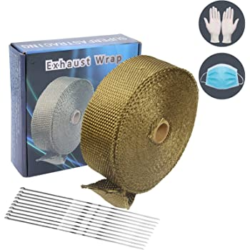 """Superfastracing 2"""" 50 Feet Lava Titanium Basalt Exhaust Heat Wrap Roll for Motorcycle Manifold Header Pipe Heat Wrap Tape with Stainless Ties"""