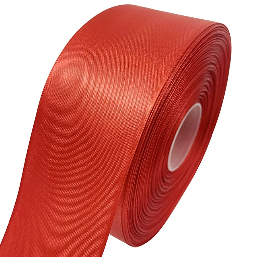 Gold Fortune Double Faced Satin Ribbon 50 Yards Roll Set for Gift Wrapping Scrap Books Party Favor Hair Braids Baby Shower Decoration Floral Arrangement Craft Supplies (Red, 2