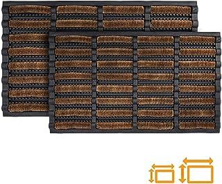 GadHome Felpudo Antideslizante Absorbente Resistente Lavable, Marrón Negra 45 x 75 cm | Alfombra de Entrada de Goma y Fibr...