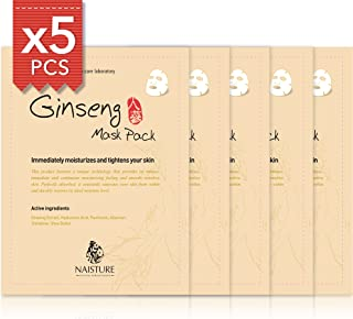 Facial Sheet Mask [NAISTURE] Face Treatment (5 Pack) Pure 100% Cotton, Smooth & Moisturizing, Tighten and Clear your Skin for Perfect Moisturization, 24mL Made in Korea - Ginseng
