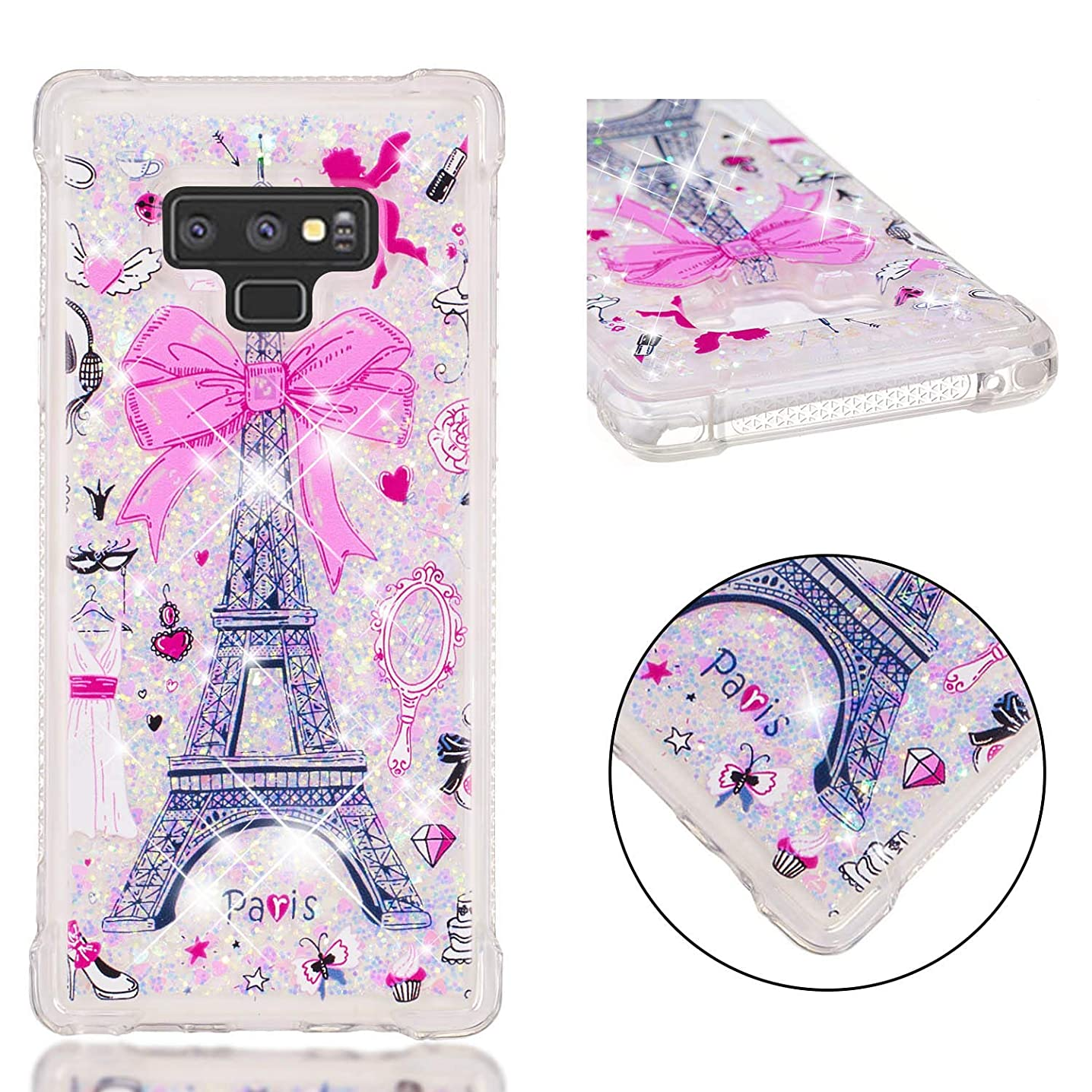 Galaxy Note 9 Case, ZERMU Shockproof Elegant Pattern Luxury Bling Quicksand Flowing Floating Glitter Durable Waterfall Fusion Moving Liquid Sparkling TPU Bumper Case for Galaxy Note 9 6.4