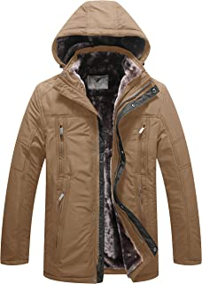WenVen Men's Winter Fleece Jacket with Hood Thick Coat