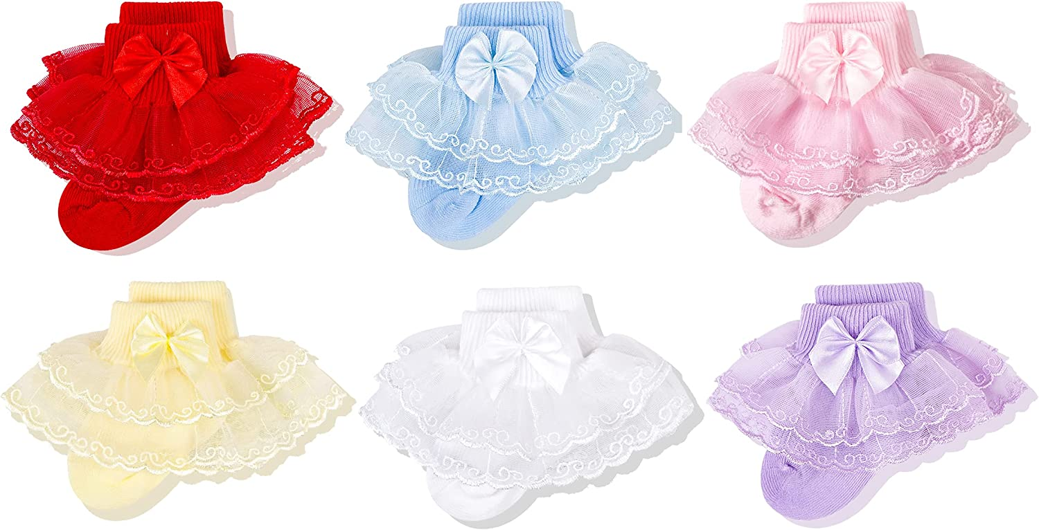 Cozyway Baby-Girls Lace Frilly Ruffle Socks Newborn Infants Eyelet Trim Ankle Dress Socks With Bow 3&6 Pairs