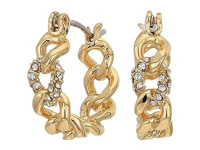 Rebecca Minkoff Pave Link Mini Hoops Earrings (Gold) Earring