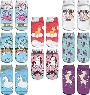 8 Pair Girls 3D Unicorn Print Ankle Socks Crazy Cute Cartoon Low Cut Socks Value Pack