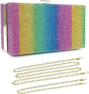 BAIGIO Damen Clutch Tasche Strass Mehrfarbig Abendtasche Handtasche Damentasche für Party Hochzeit (Mehrfarbig-02)