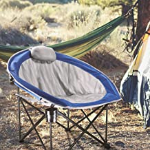 LCH Outdoor Camping Chair - Oversized Heavy Duty Folding Mesh Ergonomic High Back Padded Armrest Chair with Headrest, Cup Holder, Carry Bag, Supports 300 lbs
