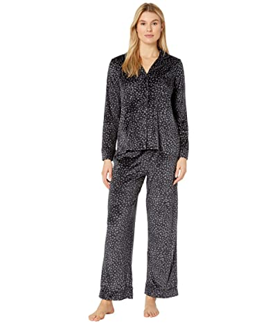 Donna Karan Stretch Velour Pajama Set (Charcoal Dots) Women