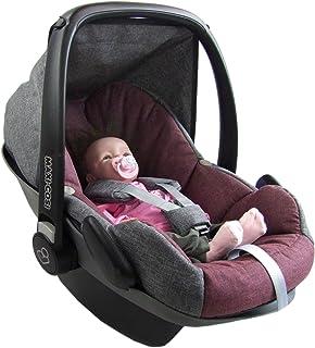 BAMBINIWELT Ersatzbezug für Maxi Cosi PEBBLE 5 tlg, Bezug für Babyschale, Komplett Set GRAU/BORDO XX