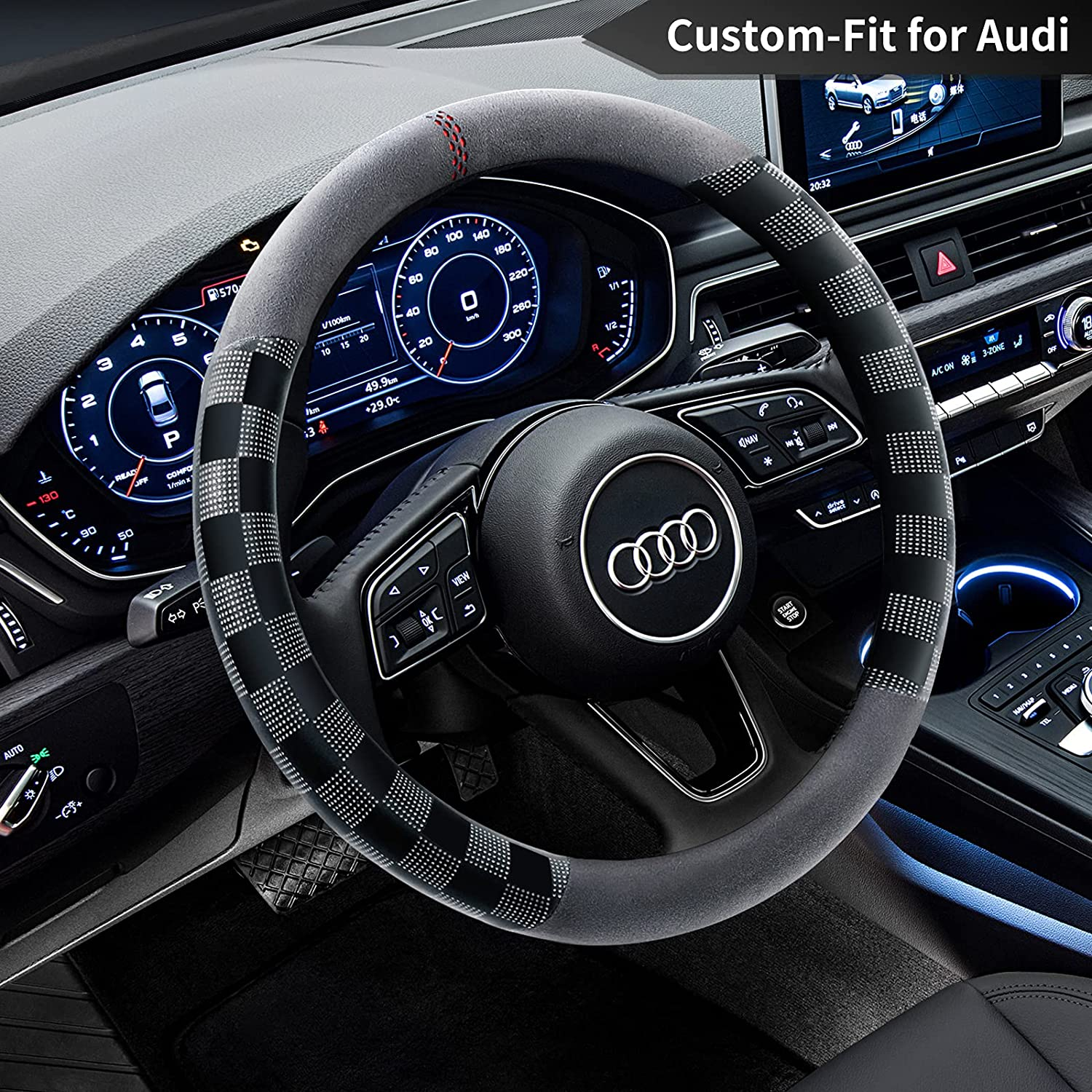 Car Steering Wheel Cover Max 54% OFF Some reservation for Route Microfibe Audi Non-Slip Deer