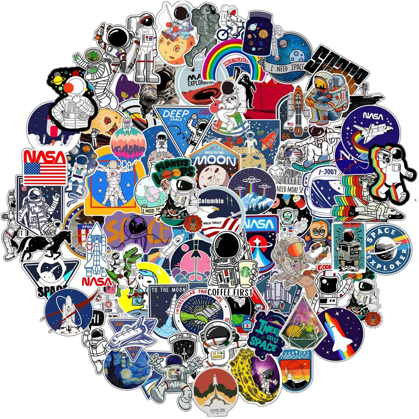 112pcs NASA Space Stickers for Water Bottle Laptop ,Waterproof Vinyl Stickers Pack, Space Theme Gifts for Adults Teens Boys Stickers for Ipad MacBook Skateboard Decals