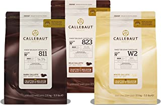 Callebaut, fondente, al latte e bianche gocce di cioccolato (3 x 2,5 kg Bundle)
