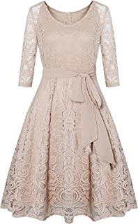 HHIMNO Women's Vintage 3/4 Sleeve Floral Lace Cocktail Bridesmaid Party Dress