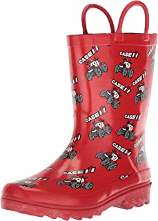 AdTec Kids Waterproof Rubber Rain Boots with Easy-On Handle's CI-4001, red, 2 M US