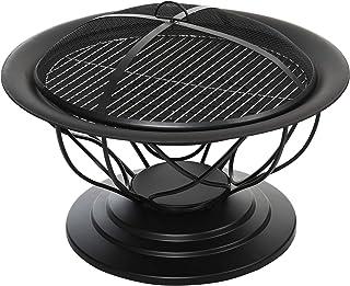 Brasero Boule de feu cheminée Foyer extérieur Ø 75 x 55H cm Grille à Charbon + Cuisson Couvercle tisonnier métal Noir