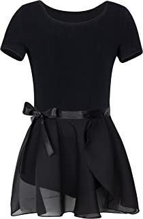 YEEIC Girls' Short Sleeve Leotard with Skirt Dance Ballet Dresses