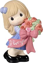 Precious Moments 172003 I Love You Girl with Flower Bouquet Bisque Porcelain Figurine, One Size, Multi