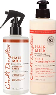 Curly Hair Products Gift Set by Carol's Daughter, Hair Milk Refresher Spray and 4 in 1 Combing Crème Hair Detangler, For Curls, Coils, Kinks, and Waves, with Agave Nectar