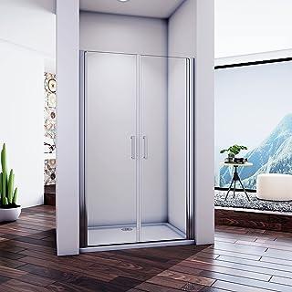 140x185cm Mamparas de Ducha Abatibles Perfil Aluminio Gris Mate Cristal Templado de 5mm, Puertas de Ducha