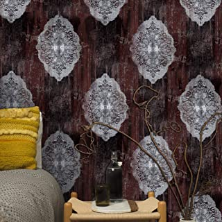 JZ122 Luxury Brown Damask Wallpaper Rolls, Wood Texture Metal Lace Embossed Wallpaper Murals Bedroom Living Room Hotels Wall Decoration 20.8