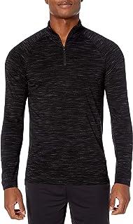 Amazon Brand - Peak Velocity Men's Merino Jersey Quarter-Zip Mock-Neck Long Sleeve