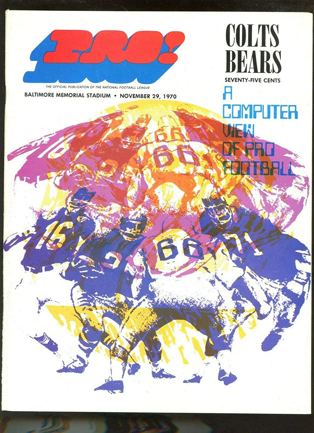 Max 78% OFF Online limited product November 29 1970 NFL Program Chicago Bears at EX Baltimore Colts