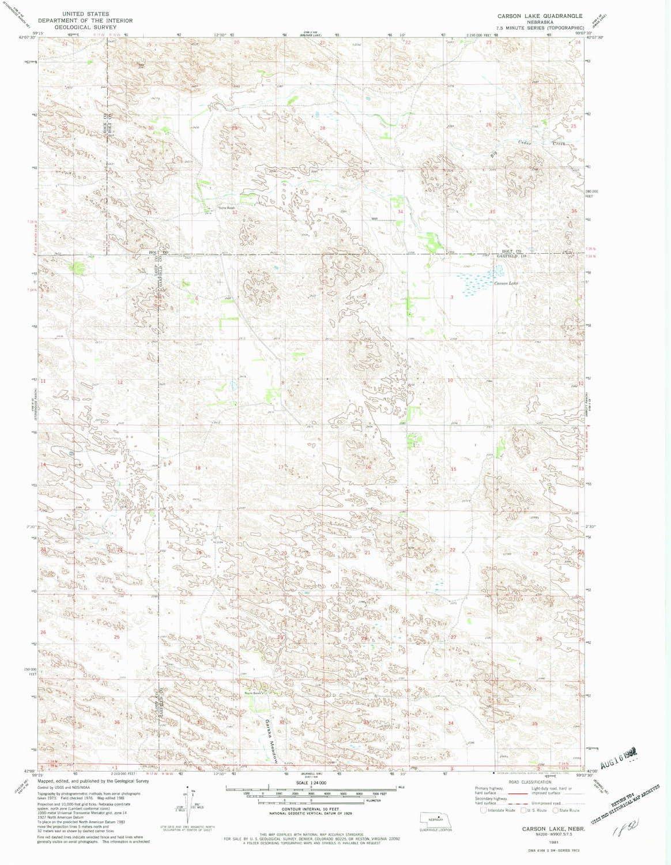 YellowMaps Carson Recommendation Lake NE topo map X 1:24000 Free Shipping New Scale Min 7.5