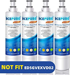 ICEPURE 4396508 Refrigerator Water Filter Compatible with Whirlpool 4396508, 4396510, edr5rxd1, filter 5, 4392857, NL240V, WFL400, 9010 filter, wf285, 4396547, RWF0500A 4 PACK