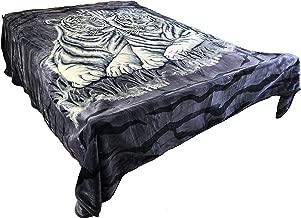 SOLARON 4ESTACIONES Mink Plush Korean Durable Blanket from Original Company (Dark Blue Tigers, King)