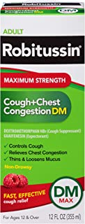 Robitussin Maximum Strength Cough and Chest Congestion DM Non-Drowsy Liquid Box, 12 Fluid Ounce