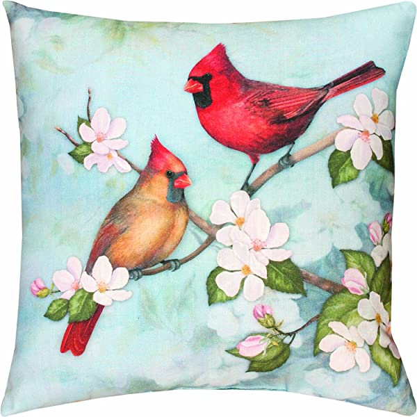 Manual Climaweave Indoor Outdoor Square Decorative Throw Pillow Cover 18 Inch Spring Cardinal Pillow Case