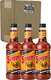 Master of Mixes 5 Pepper Extra Spicy Bloody Mary Drink Mix, Ready to Use, 1 Liter Bottle (33.8 Fl Oz), Pack of 3