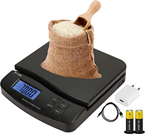 ENEM SF 550 30 KG Digital Weighing Machine for Kitchen 6 Months Warranty Electronic Food Weight Scale for Home Kitchen Shop Small Portable for Food Fruits Products Black with Adapter