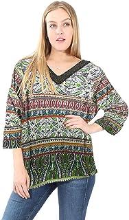 Village Venture Blusa Estado Floral con Detalle de Collar de Shakiras -Mod. E501