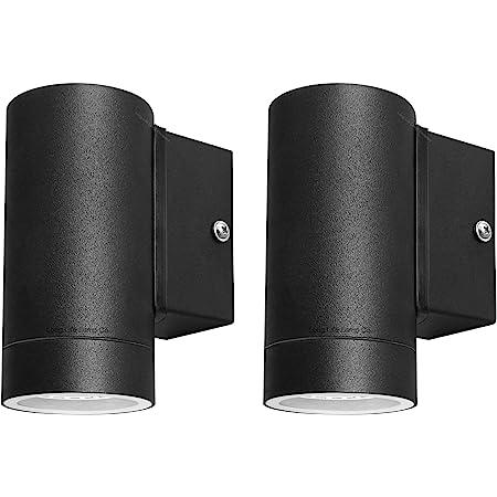 2 X Black Stainless Steel Single Outdoor Wall Light IP65 Down Wall Light Matt Black ZLC018B