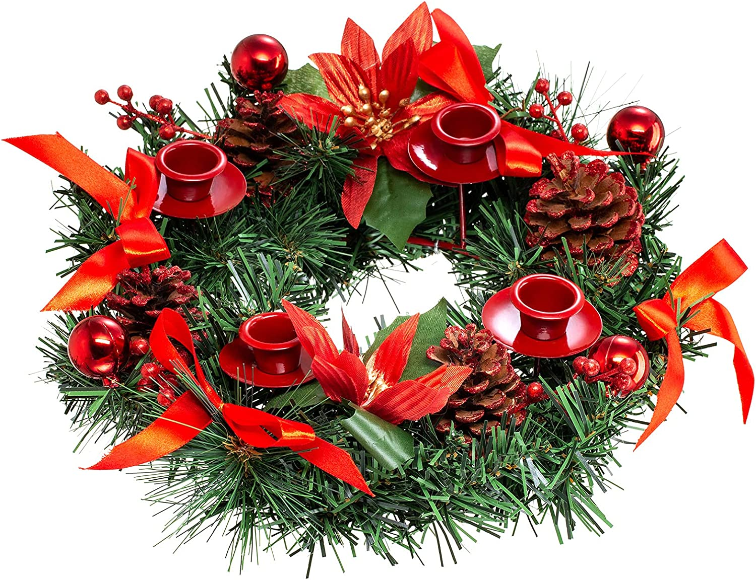 HANTURE Christmas Advent Wreath with low-pricing Ring Ribbon Red Pinecone Ca Ranking TOP19