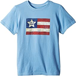 Life is Good Kids - Vintage American Flag Crusher Tee (Little Kids/Big Kids)