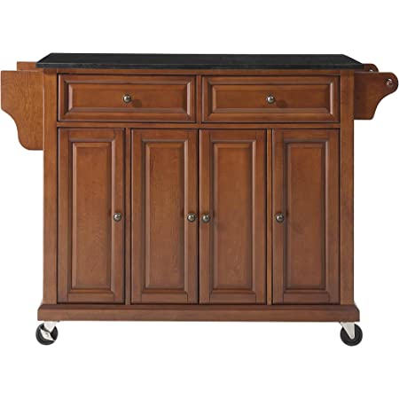 Amazon Com Crosley Furniture Full Size Kitchen Cart With Solid Black Granite Top Cherry Kitchen Islands Carts