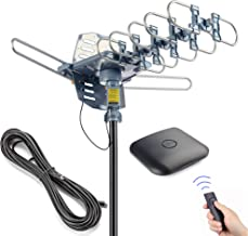 PBD Outdoor Digital HD TV Antenna 150 Miles Motorized 360 Degree Rotation with 60FT RG6 Coax Cable - UHF/VHF / 1080P / 4K ...