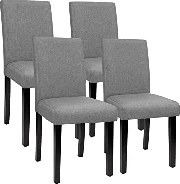 Furmax Dining Chairs Urban Style Fabric Parson Chairs Kitchen Living Room Armless Side Chair with Solid Wood Legs Set of 4 (G