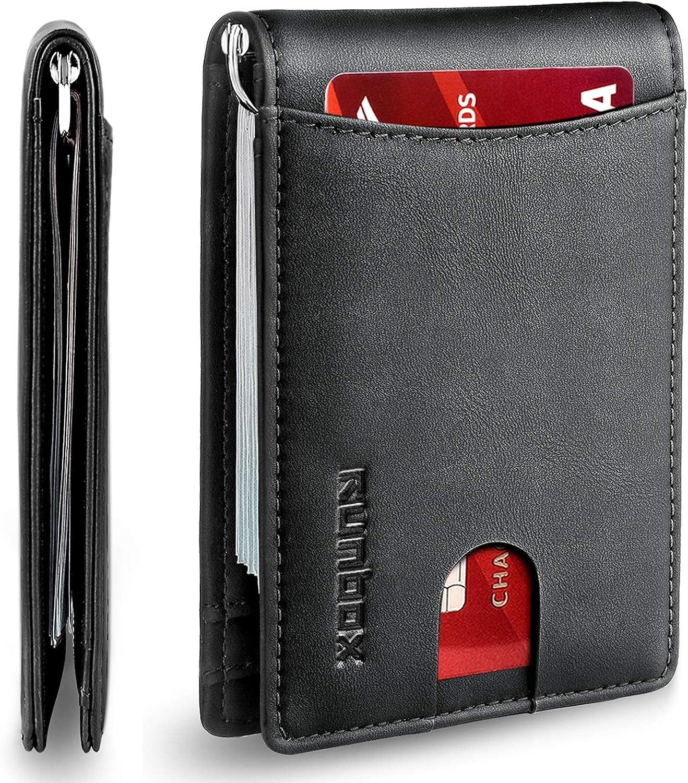 RUNBOX Minimalist Slim Wallet for Men Money 新作送料無料 期間限定で特別価格 Clip RFID Block with