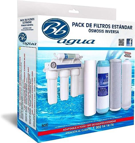 Bbagua Filtros para Equipos de Osmosis inversa estandar, Blanco, 4
