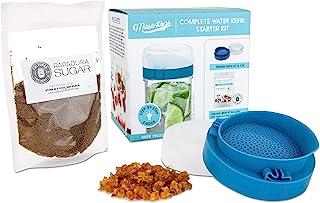 Masontops Complete Kefir Making Starter Kit - With Plastic Strainer Cap, Starter Fermentation Grains & Specialty Sugar
