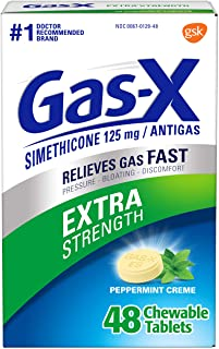 Gas-X Extra Strength Chewable Tablet for Fast Relief from Gas, Bloating and Discomfort, Peppermint Peppermint 48 Count Pep...