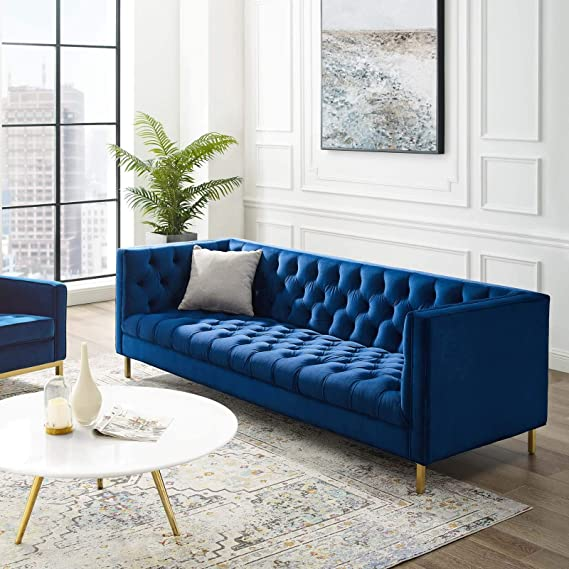 Modway Delight Tufted Button Performance Velvet Tuxedo Sofa With Gold Stainless Steel Legs In Navy Furniture Decor Amazon Com