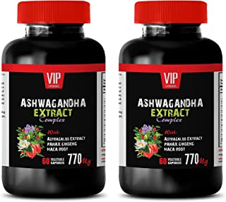Stress Relief for Women - ASHWAGANDHA Extract Complex 770MG with Astragalus PANAX Ginseng MACA Root - ashwagandha Supreme Capsules - 2 Bottles 120 Capsules