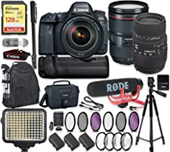Canon EOS 6D Mark II DSLR Camera w/ 24-105mm f4L is II USM Lens & Sigma 70-300mm Lens + 128GB Sandisk Extreme Memory + Video LED Light + Rode Microphone + 60