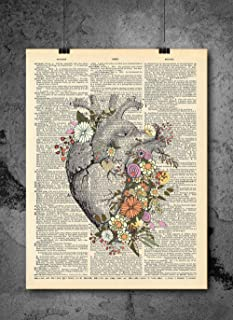 Anatomical Heart Flower Print - Vintage Art - Authentic Upcycled Dictionary Art Print - Home or Office Decor - Inspirational And Motivational Quote Art
