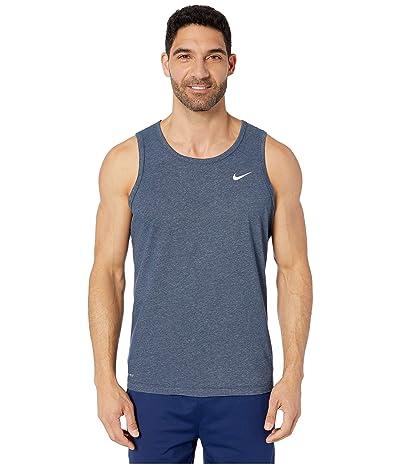 Nike Dry Tank Dri-FITtm Cotton Solid (Obsidian Heather/Matte Silver) Men