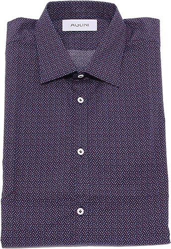 AGLINI 1894X Camicia hommes David Slim bleu rouge Cotton Shirt Man